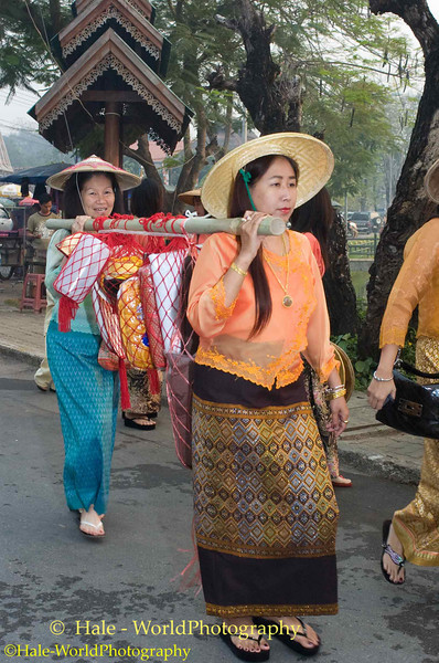 Shan Women Carrying Offerings for Monks In Poi Sang Long Procession, Maehongson, Thailand