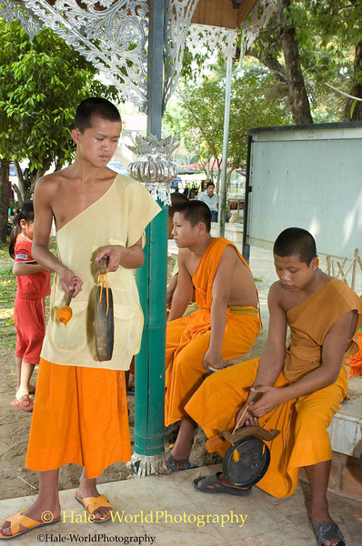 Young Monks Playing Music Prior to Hair Cutting Ritual