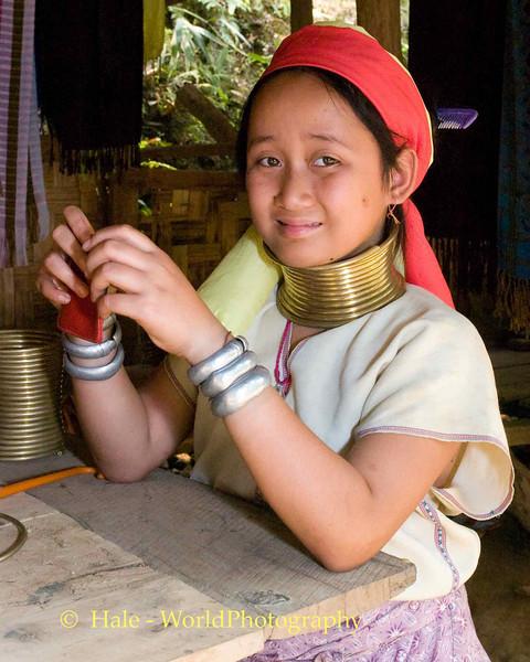 Padaung School Girl In Baan Nai Soi Refugee Camp, Maehongson, Thailand