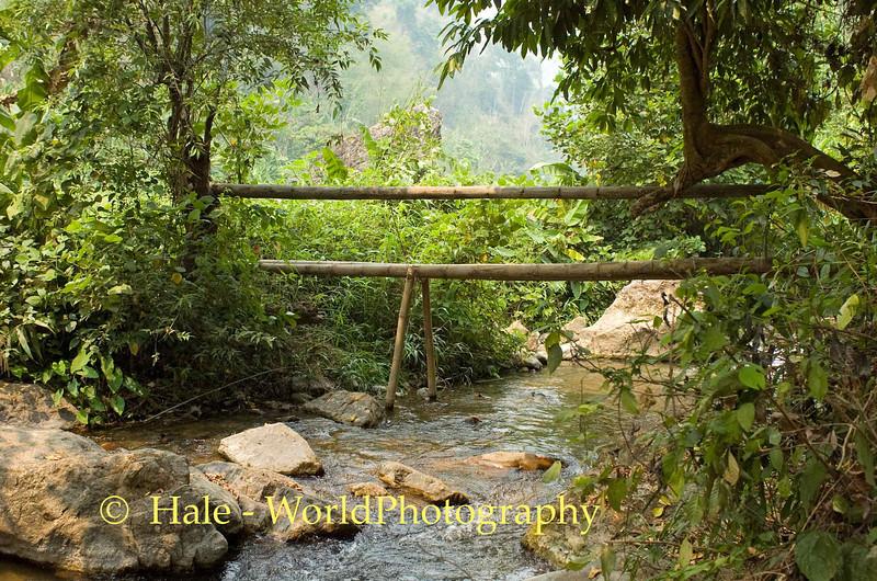 A Bamboo Bridge Over Flowing Water, Baan Nai Soi, Thailand