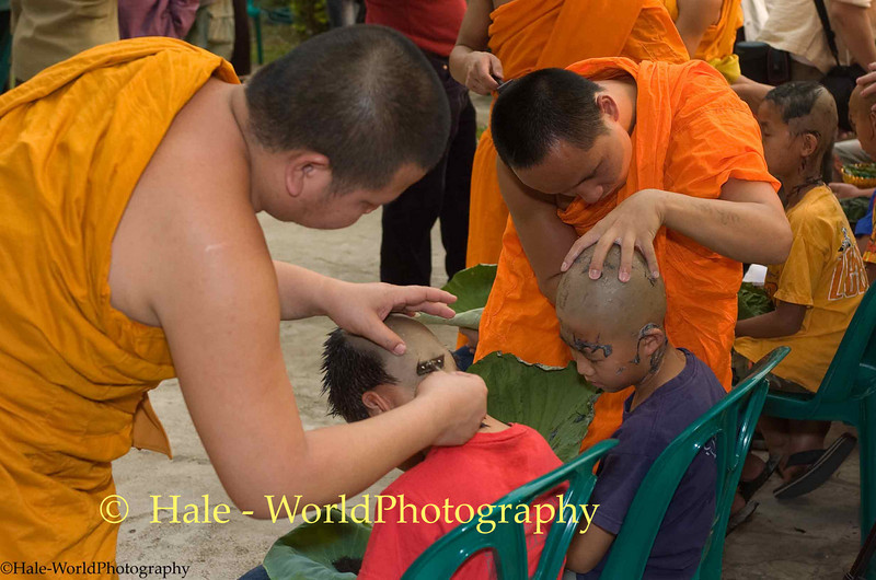 Young Monks Shaving Shan Boys as part of Poi Sang Long Ritual