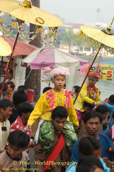 Sang Longs Being Carried Through The Town, Maehongson, Thailand