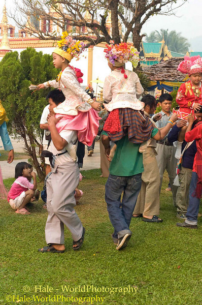 Sang Longs Being Danced Around the Wat Grounds, Maehongson, Thailand