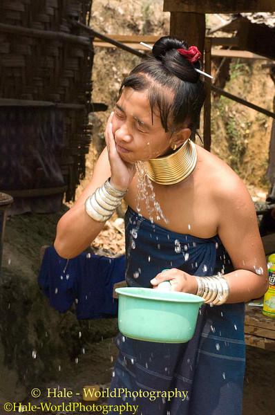 Padaung Woman Washing Up in Ban Huay Sua Tao Refugee Camp