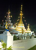 "Nighttime View of Wat Jong Kum-Jong Klang Complex (""Thai Yai"" also known as Shan architecture) in Maehongson, Thailand"