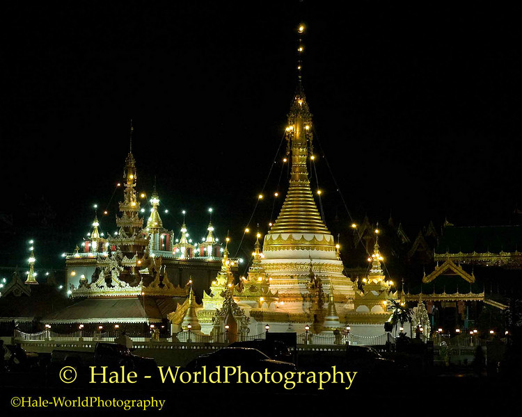 """Nighttime View of Wat Jong Kum-Jong Klang Complex (""""Thai Yai"""" also known as Shan architecture) in Maehongson, Thailand"""
