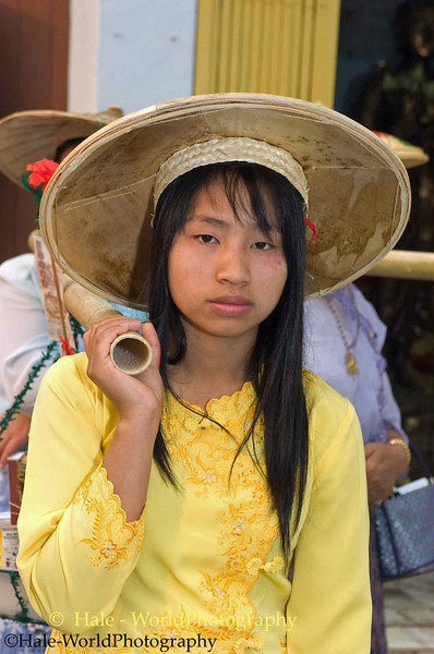 Young Shan Woman Carrying Offerings During Poi Sang Long Festival Procession