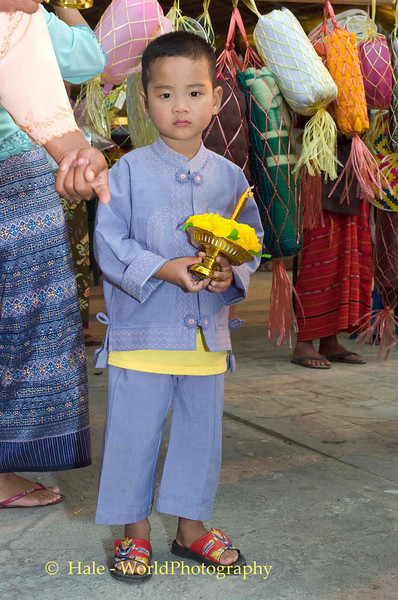 Young Shan Boy Carrying Offerings Through Maehongson During Poi Sang Long Festival
