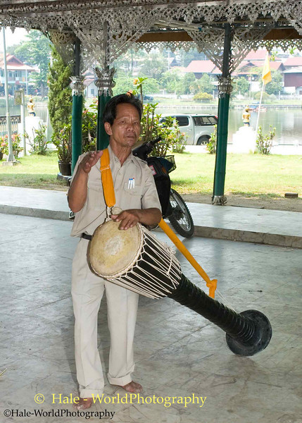 Shan Man Playing Drum at Wat Jong Kum-Jong Klang