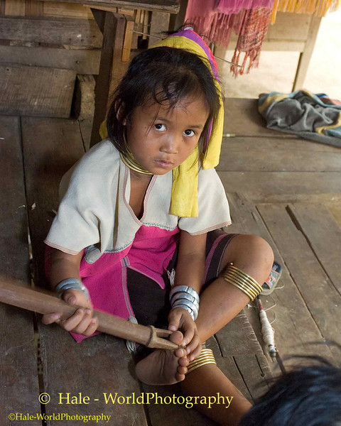 Young Paduang Girl in Huay Sua Tao Camp Near Maehongson, Thailand