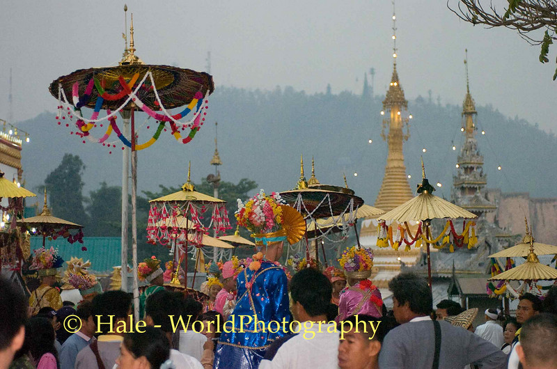 Jeweled Princes and Their Bearers Prepare for Procession through Maehongson, Thailand