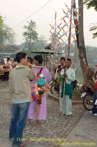 Shan Men Carrying Offerings Prior To Poi Sang Long Festival Procession