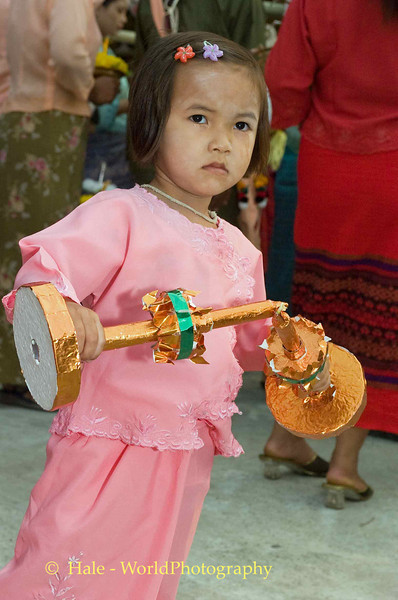 Young Shan Girl Carrying Offerings Through Maehongson During Poi Sang Long Festival