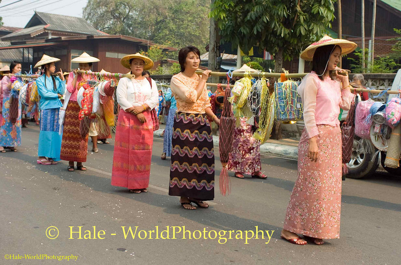 Shan Women Carrying Offerings Through Maehongson During Poi Sang Long Festival
