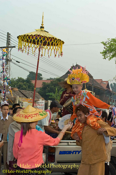 Sang Long Being Carried Through The Town, Maehongson, Thailand