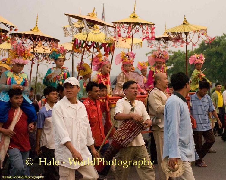 Jeweled Princes and Their Bearers Parade Through Maehongson, Thailand