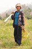 Shan Farm Worker Carrying Bamboo Strips To Bundle Harvested Soybean Plants In Maehongson Province