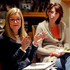 "Kim Shannon, left, and her mother, Mimi, talks about the dinner subject in the beginning of the Shine meeting.<br /> Mimi Shannon and her daughter, Kim, run a monthly woman's group called the Shine Sisters' Circle, using the Shine cards to unlock women's inner creativity, strength and deep desire to be who they are.<br /> For more photos of the group, go to  <a href=""http://www.dailycamera.com"">http://www.dailycamera.com</a>.<br /> January 5, 2012 / Cliff Grassmick"