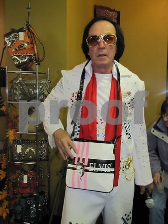 'Elvis' appeared at 'Accessorize' to entertain the ladies.