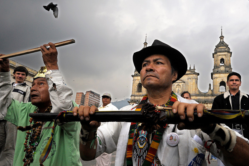 Thousands of representatives of indigenous communities throughout the country came together in Bogota in 2008 after a journey of nearly 500 kilometres from the city of Cali (Southwest Colombia). <br /> Photo: Damien Fellous/librearbitre