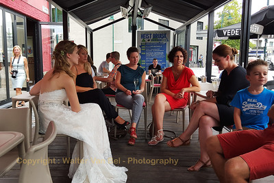 "Wedding day: Ilona and friends in ""Cafe 't Pleintje"", enjoying the ""after-ceremony-drink"" ;-)"