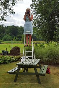 """Wedding day: The real photographer - Floor Bogaerts - in action! PS: construction had been verified by the """"safety engineer"""" on site! ;-)"""