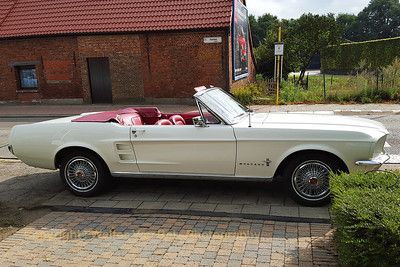 Wedding day: the groom arrived in style (Ford Mustang convertible)...