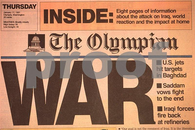 The Olympian Newspaper carries headline article on the start of the Gulf War on January 17, 2001.