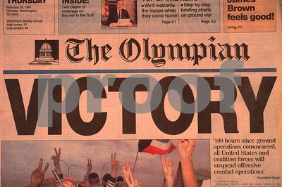 The Olympian Newspaper carries headline article on the end of the Gulf War on February 28, 2001.