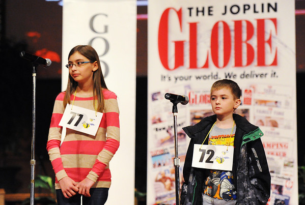 Globe/T. Rob Brown<br /> Joplin Globe Spelling Bee finalists compete for first and second place Monday morning, March 18, 2013.