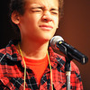 Globe/T. Rob Brown<br /> Julian Garrett, a fifth grader at Cecil Floyd Elementary School in Joplin, tries to recall the correct spelling of a word during the Joplin Globe Spelling Bee Monday morning, March 18, 2013.