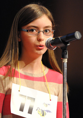 Globe/T. Rob Brown<br /> Jaden Gallagher spells during the Joplin Globe Spelling Bee Monday morning, March 18, 2013. She won the bee.