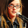 Globe/T. Rob Brown<br /> Reagan Thompson, Carthage Middle School fifth grader, spells a word during the Joplin Globe Spelling Bee Monday morning, March 18, 2013.