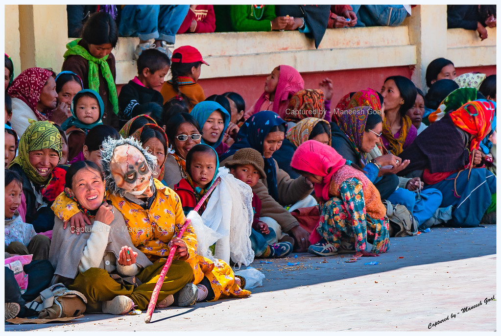 Clown Entertaining the Crowd @ Kungri Monastery (Pin Valley) Festival
