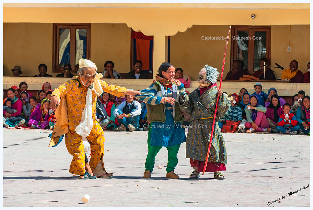 Clowns Entertaining the Crowd @ Kungri Monastery (Pin Valley) Festival