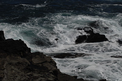 © Joseph Dougherty. All rights reserved.   The view from the bluffs where we go diving for abalone. Waves crashing in over the rocks.