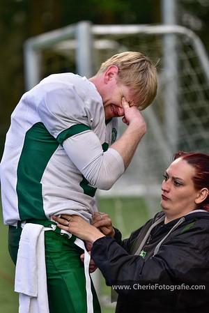 American Footbal is een harde sport; blessures komen niet onverwacht maar zijn altijd pijnlijk.