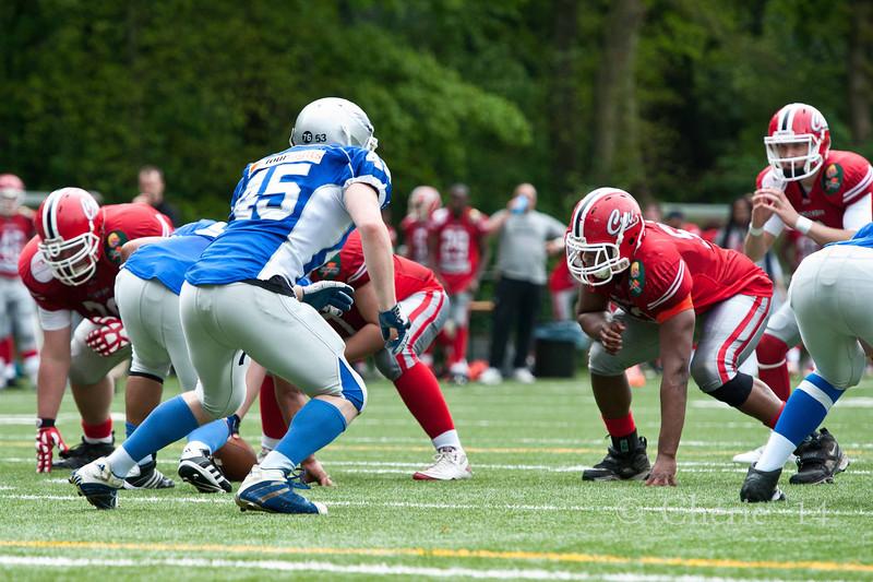 Dutch American Football match Arnhem Falcons vsAmsterdam Crusaders in the AFBN Eredivisie Seniors