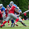 Dutch American Football match Arnhem Falcons vsAmsterdam Crusaders in the AFBN Eredivisie Seniors