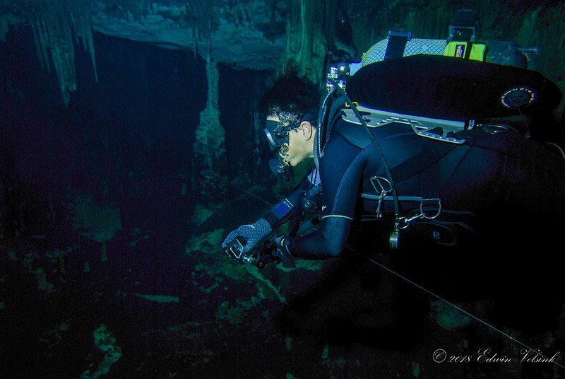 Chérie is having a blast: cave diving and recording images