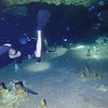 Video, recorded by Jean H. Pantoja Ramírez, of Edwin (camera) and Danny,  exiting cave 1, into the cenote.