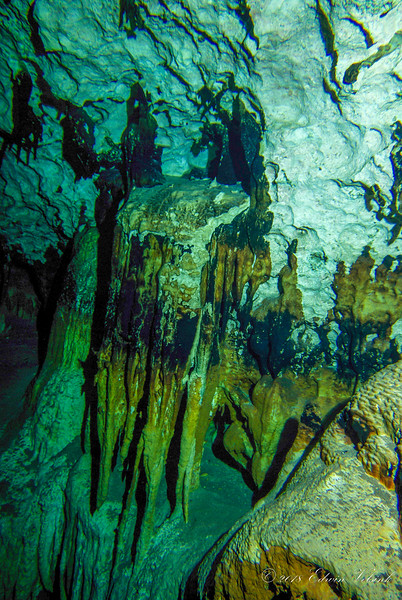 Colorful subterranean stalagtites