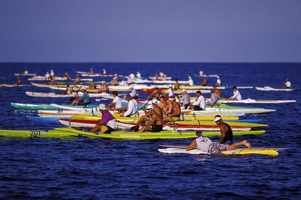 Outrigger canoes lining up at the <br /> beginning of a regatta, Honokohau, <br /> Big Island of Hawaii ( Central Pacific Ocean )<br /> 1