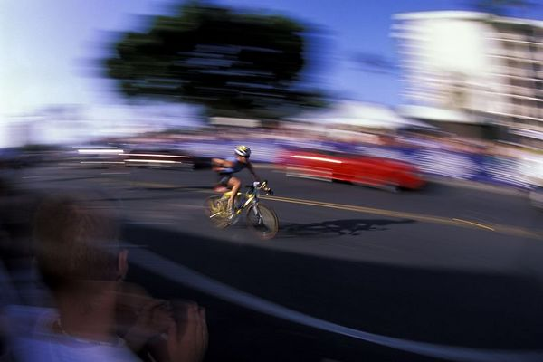 The second phase of the Kona Ironman Triathlon is the bike, 2004, The Big Island, <br /> Hawaii ( Central Pacific Ocean )<br /> 1