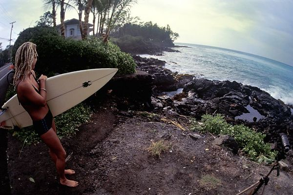 surfer at Lymans Point, Big Island of Hawaii <br /> ( Central Pacific Ocean )<br /> 1