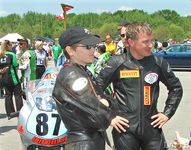 The #87 Suzuki team of Melissa Berkoff and Brian Kcraget