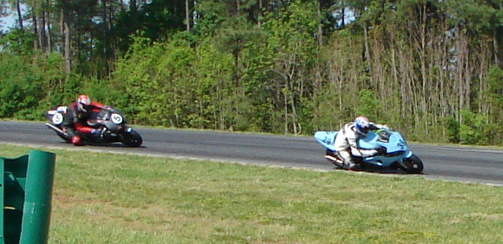 the #39 Suzuki of Momentum Racing riden by Abraham Stacey, Joe Little and Gregory Charlton...followed by the #5 Aprilla USA 1 team of John Francis and Henry Wiles
