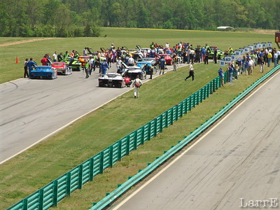 Cars line up on the track