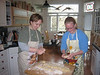 Laura and Emily make hot cross buns in Eliot and Pamela's kitchen