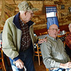 Globe/Roger Nomer<br /> Ed Parker, left, stops to talk to Chuck Dalbom and Don Hounschell about the sale of a building in Stella during breakfast on Friday.